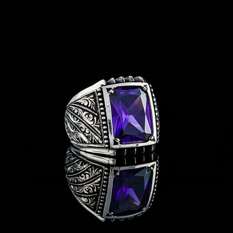 Hand Engraved Amethyst Ring // Silver + Purple (5)