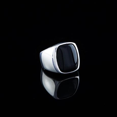 Modern Design Stone Ring // Silver + Black (5)