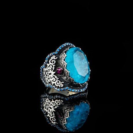 Blue Tourmaline Ring // Blue + Silver + Purple (5)