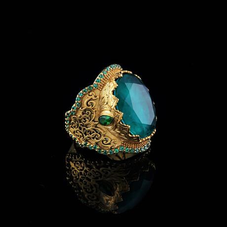 Verdelite Tourmaline Ring // Green + Gold (5)