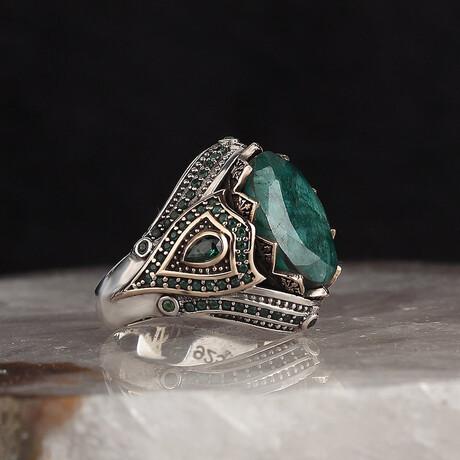 Raw Emerald Ring // Silver + Green (5)