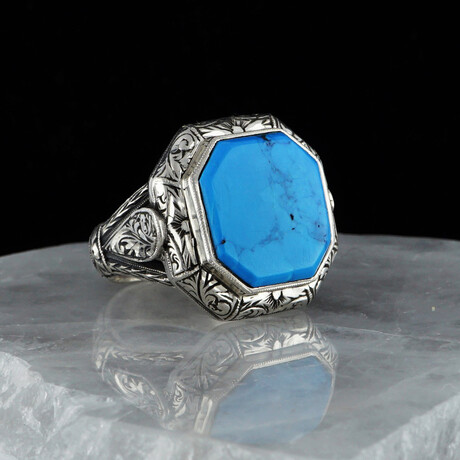Large Natural Turquoise Ring // Silver + Turquoise (5)