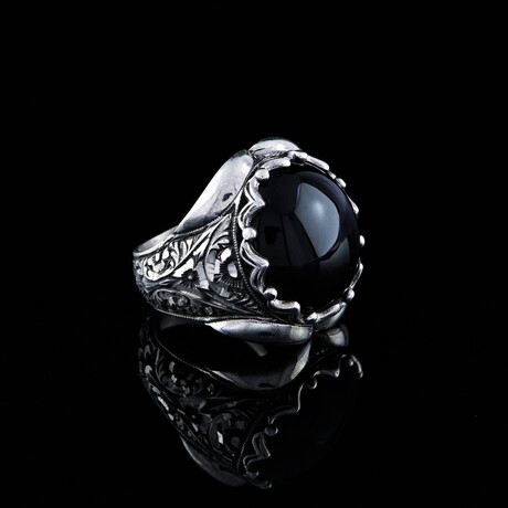 Hand Engraved Black Onyx Ring // Silver + Black (5)