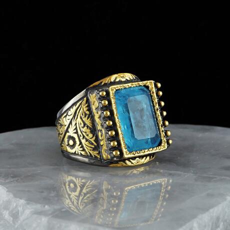 Luxurious Paraiba Tourmaline Ring // Gold + Blue + Black (5)