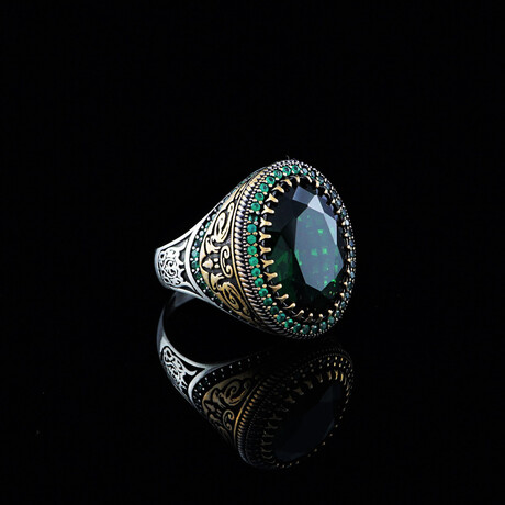 Chic Cubic Zirconia Ring // Green + Silver (5)