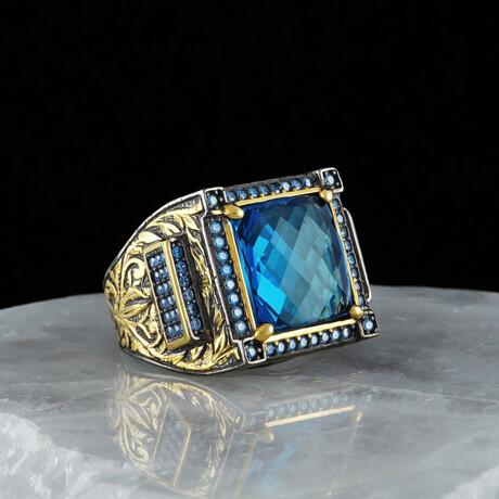 Classy Blue Topaz Ring // Blue + Gold + Black (5)