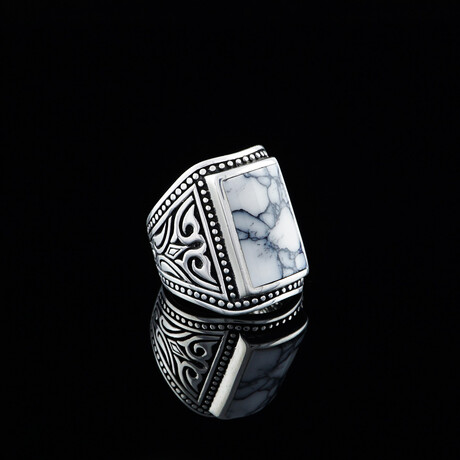 White Turquoise Ring // Silver + White (5)