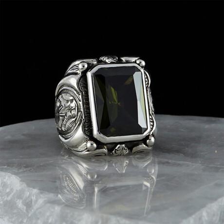 Large Peridot Crystal Ring // Silver + Green (5)