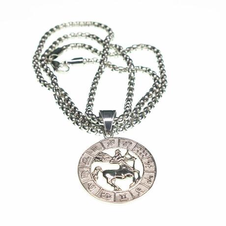 Dell Arte // Sagittarius Pendant Necklace // Silver