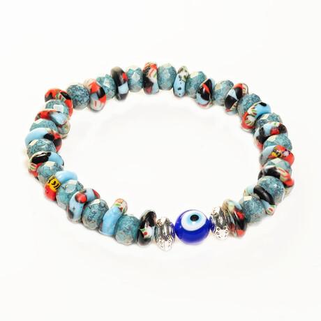 Dell Arte // Krobo Hand Painted Recycled Glass Beaded Bracelet // Multicolor