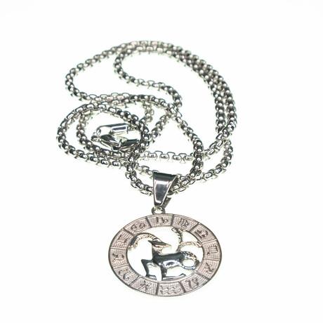Dell Arte // Capricorn Pendant Necklace // Silver