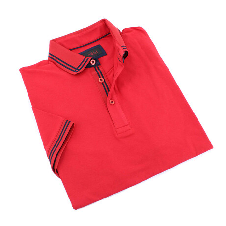 Andreas Contrasting Trim Polo // Red (S)