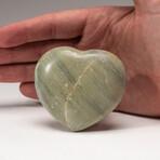 Genuine Polished Green Serpentine Heart + Acrylic Display Stand
