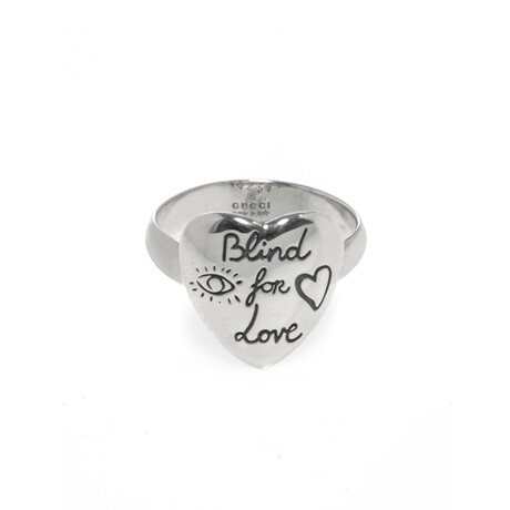 Gucci // Blind For Love Sterling Silver Ring // Ring Size 4.25 // Store Display