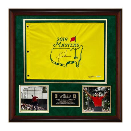 Tiger Woods // Framed + Signed 2019 Masters Flag