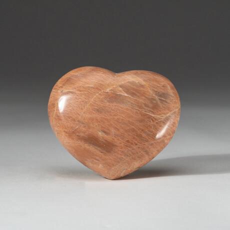 Genuine Polished Pink Moonstone Heart + Acrylic Display Stand // V1
