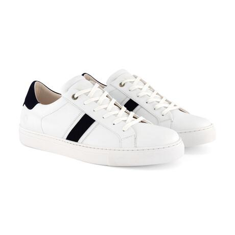 Renwick Vegan Sneaker // White + Navy (Men's Euro Size 40)
