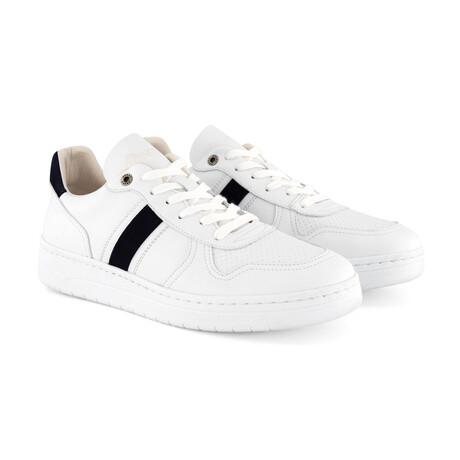 Marable Vegan Sneaker // White + Navy (Men's Euro Size 40)
