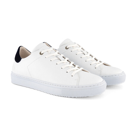 Pretzinger Vegan Sneaker // White + Navy (Men's Euro Size 40)