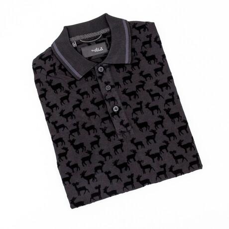 Deer Pattern Polo // Black (S)