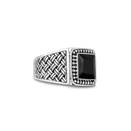 Gentleman's Signet Ring + Onyx High Polish // Silver + Black (Size 8)