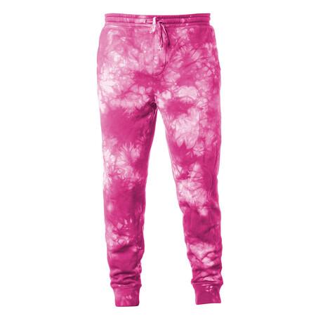 Pigment Dyed Fleece Sweatpants // Tie Dye Pink (S)