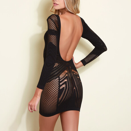 Zoey Megatron Fitted Mini Dress // Black