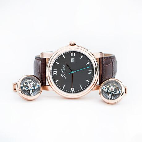 J.Ciro Bundle // Ambassador Dress Quartz Watch // LESRGBRN + Rose Gold Cuff Links + Brown Travel Wallet