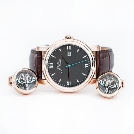J.Ciro Bundle // Ambassador Dress Quartz Watch // LESRGBLK + Rose Gold Cuff Links + Black Travel Wallet