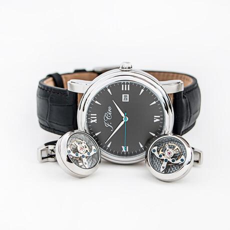 J.Ciro Bundle // Ambassador Dress Quartz Watch // LESSSBLK + Stainless Steel Cuff Links + Black Travel Wallet
