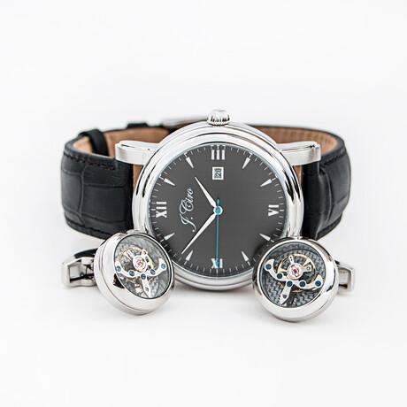 J.Ciro Bundle // Ambassador Dress Quartz Watch // LESSSBRN  + Stainless Steel Cuff Links + Brown Travel Wallet