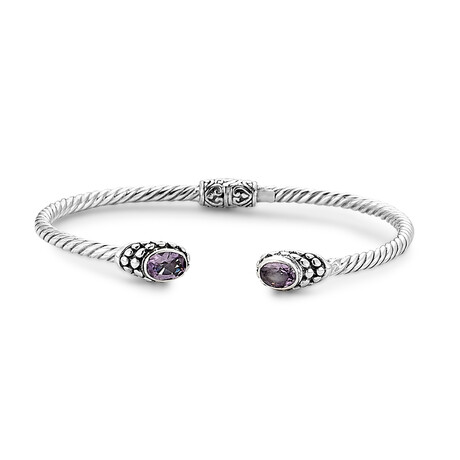 Women's Twisted Cable Bangle + Oval Amethyst Endcaps