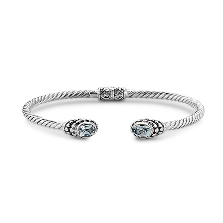 Women's Twisted Cable Bangle + Oval Blue Topaz Endcaps