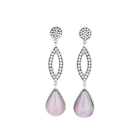 Women's Pear Shape Pink Mabe Pearl Drop Earrings