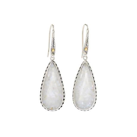 Women's Pear Shape Mop Galaxy Stone Earrings