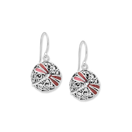 Women's Circular Coral + Dragonfly Accent Earrings