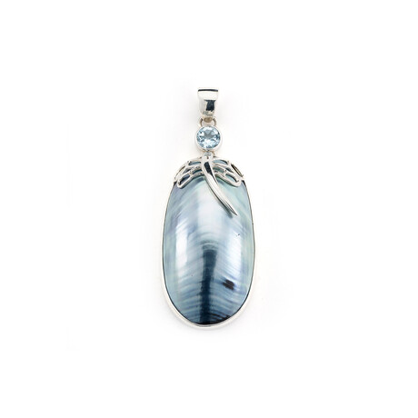 Women's Oval Blue Nautilus Shell + Blue Topaz Pendant