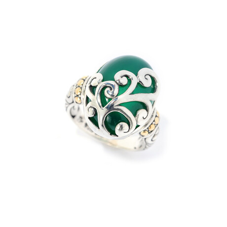 Women's Oval Green Chalcedony + Swirl Overlay Ring (5)