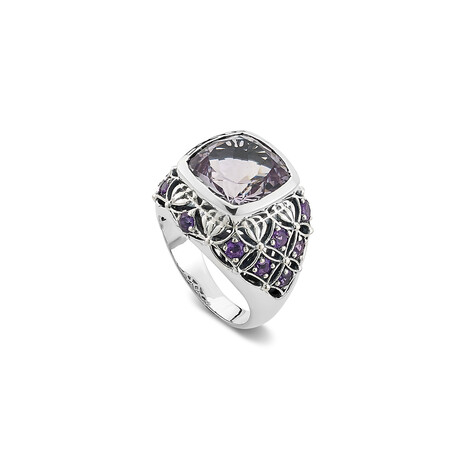 Women's Cushion Rose De France Amethyst + Pave Amy Stones Ring (5)