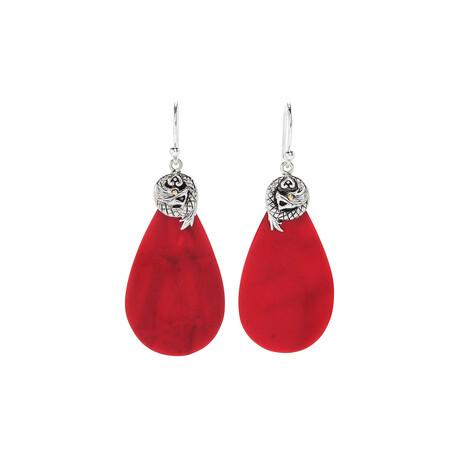 Women's Pear Shape Coral + Dragon Earrings