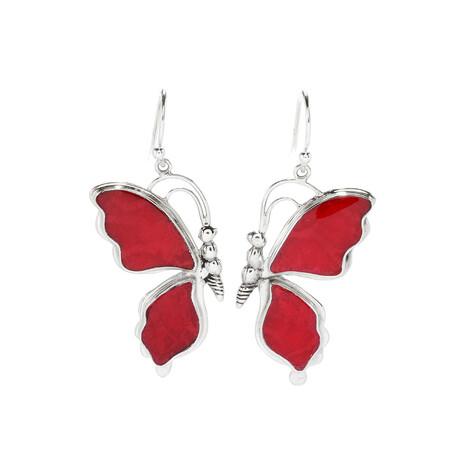 Women's Butterfly Coral Earrings