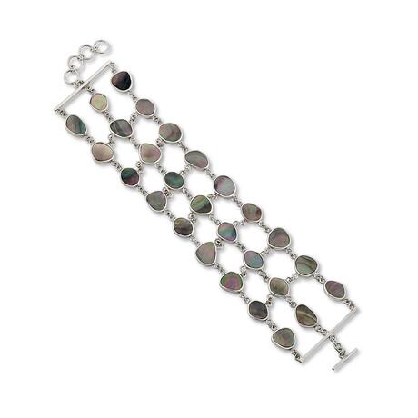 Women's Gray Mother of Pearl 3-Row Link Bracelet