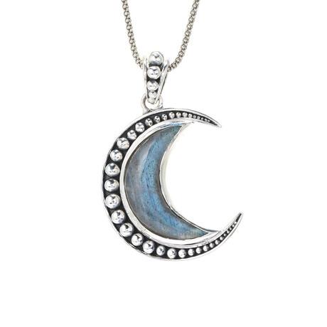 Women's Crescent Moon Labradorite Pendant + Chain