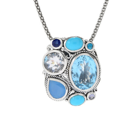 Women's Multi-Shape Blue Topaz + Multi Stone Pendant + Chain
