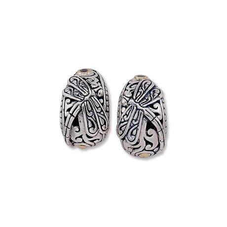Women's Dragonfly + White Topaz Accent Hoop Earrings