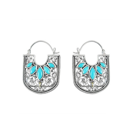 Women's Sleeping Beauty Turquoise Hoop Earrings