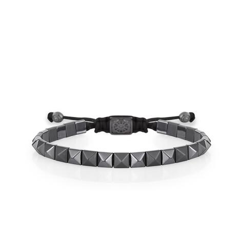 Hematite Stone Bracelet // Gray + Black