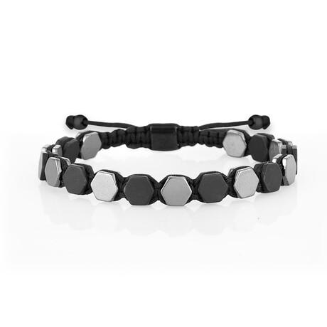 Hematite Stone Bracelet // Silver + Black