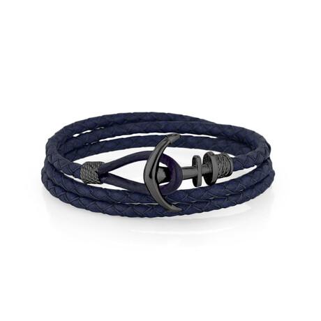 Triple Wrap Anchor Bracelet // Navy