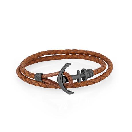 Double Wrap Anchor Bracelet // Tan + Smoke